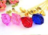 Heißer Großhandelskristall macht langer Stamm-Glasrosen-Blume in Handarbeit
