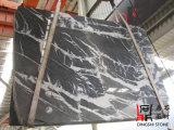 De natuurlijke Grijze Marmeren Plakken Marquina van de Steen voor de Tegels van de Bevloering/de Bekleding van de Muur