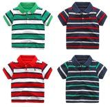 새로운 형식 여름 티 작은 아이 소년 줄무늬 폴로 셔츠