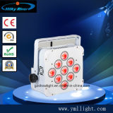 luz magro sem fio lisa da PARIDADE do diodo emissor de luz da luz RGBWA 4in1 DMX512 Batterty da PARIDADE do diodo emissor de luz de 9PCS X de 10W