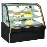 Heißer Verkaufs-Doppelt-Lichtbogen gebogener Glas- und Marmorkuchen-Kostenzähler-/Kuchen-Schaukasten