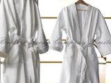 Peignoir bon marché personnalisé par action d'hôtel de gaufre de coton de logo de tailles moyennes (BA-001)