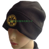 Winter Warm Windproof Polar Fleece Chapéu adulto com logotipo de bordado OEM em preto e vermelho Beanie Factory