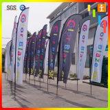 Quatro cores poliéster impresso 2 lados 15 'bandeira de penas para promoções
