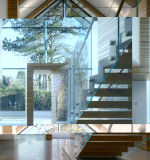 El zigzag escaleras de vidrio con vidrio Baranda