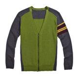Casaco de lã Assorted V-Garganta dos homens da malha das cores com fecho de correr