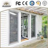 セリウムの証明書の公認の工場安い価格のガラス繊維中グリルが付いているプラスチックUPVC/PVCのガラス開き窓のドア