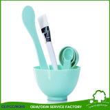 4 en 1 cuchara facial hecha en casa de la espátula del cepillo del tazón de fuente de mezcla de la máscara de DIY