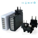 6 Puertos Cargador portátil de viaje cargador de pared cargador tapones intercambiables cargador 5V = 8A