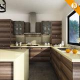 Armadi da cucina a forma di L di legno su ordinazione di consegna veloce moderna con l'isola (OP14-K003)