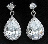 Orecchini dell'argento di goccia di Zircon del diamante della CZ