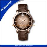 高品質の光沢があるケースの青い表面が付いている日付時刻の人の女性の腕時計