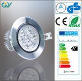 Aluminium d'intérieur LED de 4000k 9W s'allumant vers le bas avec du CE RoHS
