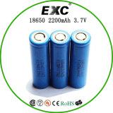 Bateria recarregável cilíndrica do íon 18650 3.7V 2200mAh do lítio com a bateria de íon da aba e de lítio