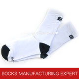 Weiße normale Baumwollmannschafts-Socke (UBS-007)