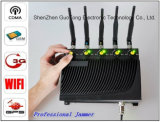 シグナルJammer Cell Phone WiFi GPS 3G Signal Jammer Five Bands Adjustable Output Power Signal Jammer 50m Desktop