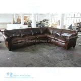 Amerikanisches Weinlese-Art-Wohnzimmer-Leder-Sofa (HW-6709S)