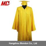 Gland mat en gros de robe de chapeau de graduation de lycée d'or