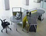Poste de travail rond de Frameless de bureau de sièges en verre modernes du principal 3 (SZ-WS244)
