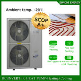 La chaleur froide 12kw/19kw/35kw de Chambre d'étage de l'hiver de l'Europe -25c Automatique-Dégivrent l'eau chaude de cop d'Evi à chaleur de chauffage central fendu élevé de pompe