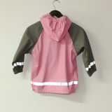 固体ピンクPU子供または赤ん坊のための反射雨ジャケット