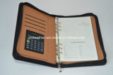 China Supplier Zip A5 Filofax Planner Leather Organizer con Calculator