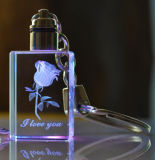 Di cristallo all'ingrosso chiaro del LED Keychain per il regalo