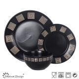 Insieme di ceramica del padellame del nero speciale di disegno
