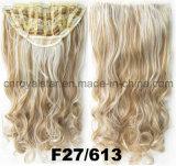 Clip bouclé synthétique de perruque de la Double-Couleur 1/2 dans la prolonge 7 PCS de cheveu