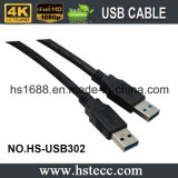 cabo de fio de encaixotamento chapeado do USB 3.0 da velocidade de 15FT ouro super