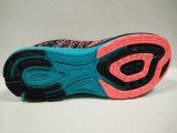 Chaussures pulsantes de mouche de semelle intérieure large colorée de Knit pour des dames