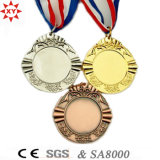 Kundenspezifisches Blank Gold Metal Medal mit Nylon Ribbon