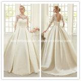 3/4 de laço Sleeves o vestido de casamento W15210 do bolso do cetim do vestido nupcial