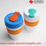Tasse de café calorifuge réutilisable du silicium 12oz avec la couverture