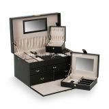 Rectángulo de joyería portable de la caja cuadrada de lujo de la joyería