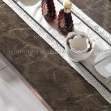 Tabella pranzante antica con la parte superiore di marmo artificiale di colore del Brown del piedino dell'oro della Rosa