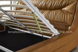A013-1 medio oriente Alza de almacenamiento de cuero moderna Cama de madera