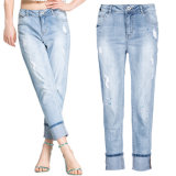 Джинсыы джинсовой ткани женщин пригонки изготовленный на заказ шкафута способа высокого тощие прямые