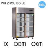 Холодильник кухни нержавеющей стали двойных дверей рефрижерации фтора свободно