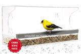 Alimentador de pájaros ventana nueva acrílico con bandeja de agua, agujeros de drenaje y embalaje seguro