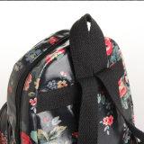 Lona de PVC impermeável preto floral retro mochila