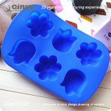 Blaue Blumen-geformte Nahrungsmittelgrad-Silikon-Gummi-Kuchen-Wanne