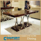 セットを食事する優雅な正方形のガラスダイニングテーブル