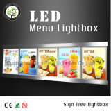 Cadre en cristal d'éclairage LED de taille personnalisé par panneau de menu de DEL