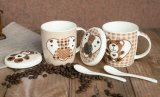 Tazze di caffè graziose di ceramica all'ingrosso 11oz con il coperchio
