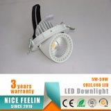 Cardán ajustable Downlight de la MAZORCA LED 25W del CREE de la alta calidad para la iluminación de los departamentos