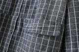 Camicia lunga del plaid delle donne del cotone grigio del `S