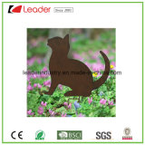 Silhueta quente do gato do ferro do revestimento do pó da venda para a estaca do jardim e a decoração do gramado