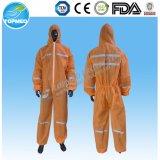 使い捨て可能な通気性の防水微小孔のある白いつなぎ服