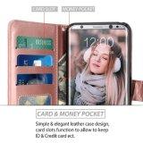 O cartão de instrução de couro da carteira do plutônio do ouro de Rosa entalha a caixa protetora de Kickstand para a galáxia S8 de Samsung mais